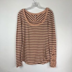 Free People Tops - Free People | Lace Sleeve Striped Long Sleeve Tee